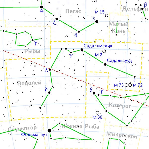 М2 находится в Созвездии Водолея