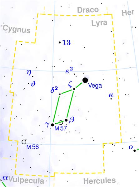 Туманность Кольцо M57 в Созвездии Лиры