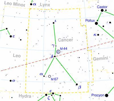 Шаровое скопление M68 находится в Созвездии Гидры