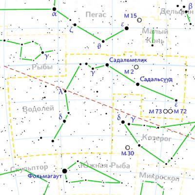 Шаровое скопление M72 находится в Созвездии Водолея