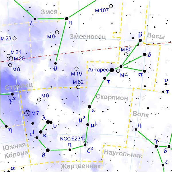 Скопление Птолемея находится в Созвездии Скорпиона