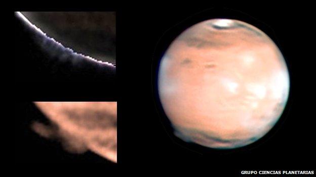 неизвестное облако над Марсом