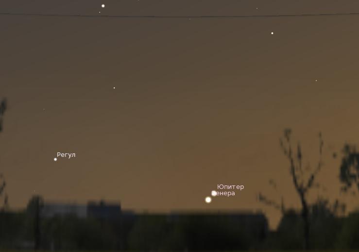 Соединение Венеры и Юпитера 1 июля 2015 года
