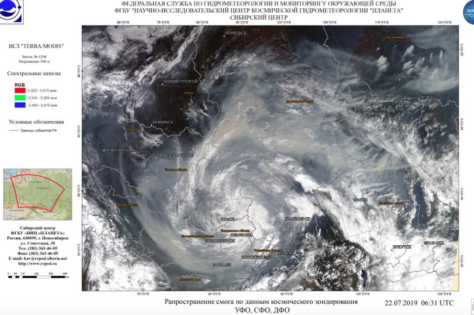 Спутниковые снимки лесных пожаров 2019