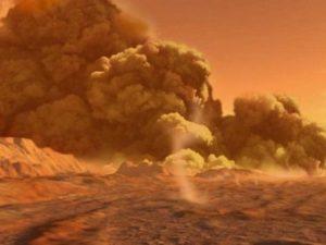 Пылевая буря опоясывает весь Марс